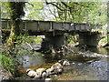 SN8984 : River Severn,Glynhafren farm bridge. by kevin skidmore