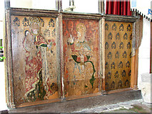 TF9434 : St Mary's church - C15 rood screen detail by Evelyn Simak