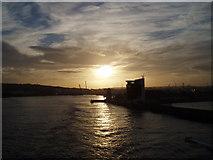 NJ9505 : Sunset over Aberdeen Harbour by Jenny Flett
