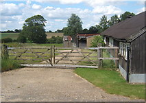TM2754 : Gateway to fields by outbuildings of Dallinghoo Hall by Andrew Hill