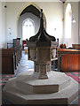 TG2227 : The church of SS Peter & Paul - C15 baptismal font by Evelyn Simak