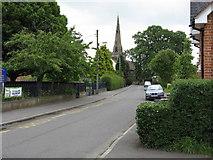 SJ8417 : Church Eaton - High Street and village church by Peter Whatley