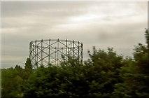TQ2696 : Gasometer frame near Barnet by Steve  Fareham