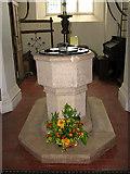 TF9235 : St Giles' church - baptismal font by Evelyn Simak