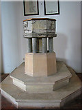TG0934 : The church of SS Peter & Paul - C13 baptismal font by Evelyn Simak