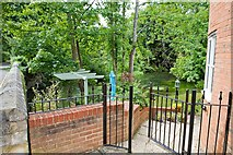 SU4828 : Private garden beside River Itchen, College Walk, Winchester by Peter Facey