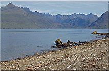 NG5113 : Elgol shoreline and the Cuillin by John Allan