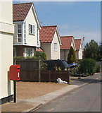 TM2844 : Postbox and houses, Cliff Road, Waldringfield by Andrew Hill
