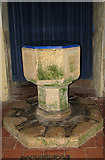 TG0524 : St Andrew's church - C13 baptismal font by Evelyn Simak