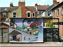 SU1484 : Wall painting, rear of Tennyson Street, Swindon by Brian Robert Marshall