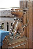 TL7388 : St James Church, Hockwold cum Wilton, Norfolk - Bench elbow by John Salmon