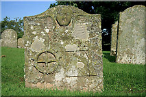 NT5943 : A symbolic stone in Legerwood Churchyard by Walter Baxter
