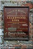 NT5943 : Legerwood Kirk signboard by Walter Baxter