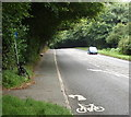SU9988 : Start of cycle path on pavement into Gerrards Cross by David Hawgood