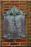 TQ2992 : Plaque on Entrance Gate, Arnos Park, London N14 by Christine Matthews
