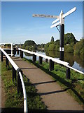 SO8453 : Signpost on the banks of the River Severn by Philip Halling