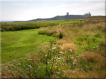 NU2422 : Dunstanburgh Castle from the golf course by Chris Gunns