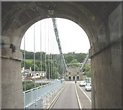 SH5571 : Passing through the south tower of Pont y Borth by Eric Jones