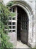SX7176 : Porch door, St Pancras Church, Widecombe-in-the-Moor by Maigheach-gheal