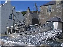 HU4039 : Shetland Bus memorial - closeup of boat by Nick Mutton
