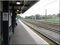 SP0177 : Longbridge Station - platform 1 by Peter Whatley
