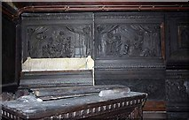 SE3766 : St Mary, Roecliffe, North Yorkshire - Carving in vestry by John Salmon