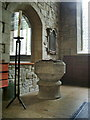 SE0426 : The Parish Church of St Mary's Luddenden, Font by Alexander P Kapp