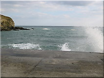 """SW9541 : The concrete sea wall at East Portholland on a """"wavy"""" day by Ulrich Hartmann"""